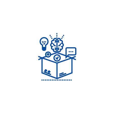 Thinking outside box,idea management line concept icon. Thinking outside box,idea management flat vector website sign, outline symbol, illustration.
