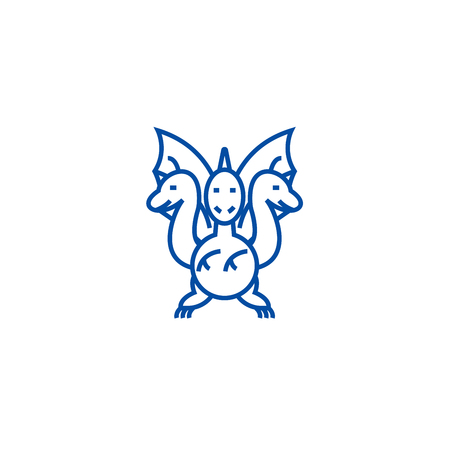 Three headed dragon  line concept icon. Three headed dragon  flat  vector website sign, outline symbol, illustration.