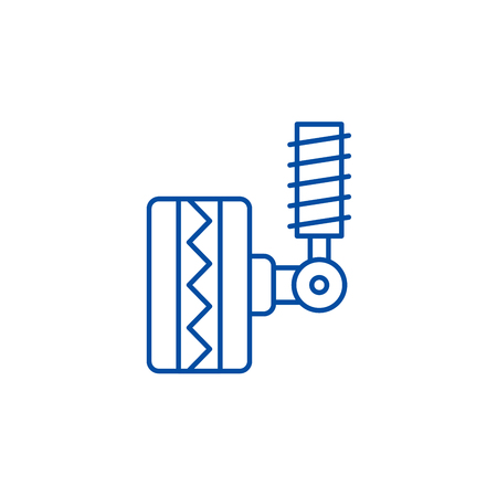 Tire fitting line concept icon. Tire fitting flat  vector website sign, outline symbol, illustration.