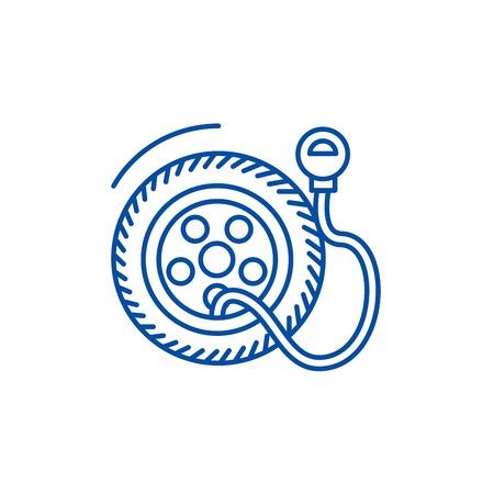 Tire service, pump,tire pressure line concept icon. Tire service, pump,tire pressure flat  vector website sign, outline symbol, illustration.