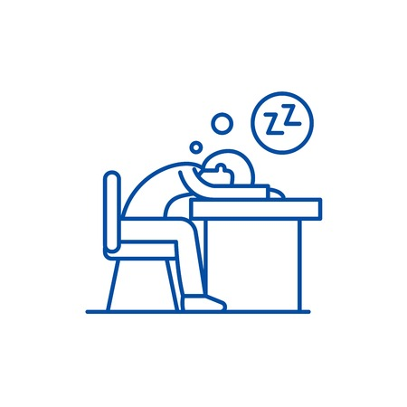 Tired at work line concept icon. Tired at work flat  vector website sign, outline symbol, illustration.