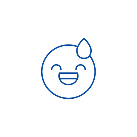 Tired emoji line concept icon. Tired emoji flat  vector website sign, outline symbol, illustration. Illustration