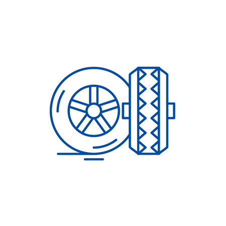 Tires line concept icon. Tires flat  vector website sign, outline symbol, illustration. 矢量图像