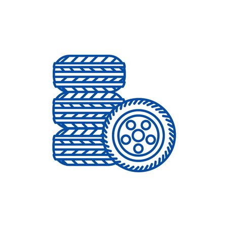 Banden, band service lijn concept icoon. Banden, bandenservice platte vector website teken, overzichtssymbool, afbeelding.