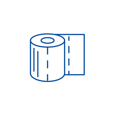 Toilet paper line concept icon. Toilet paper flat  vector website sign, outline symbol, illustration.