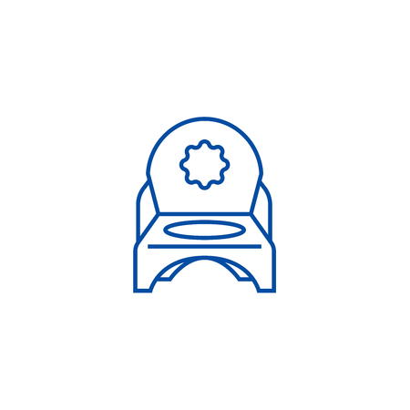 Toilet potty line concept icon. Toilet potty flat  vector website sign, outline symbol, illustration. Illustration