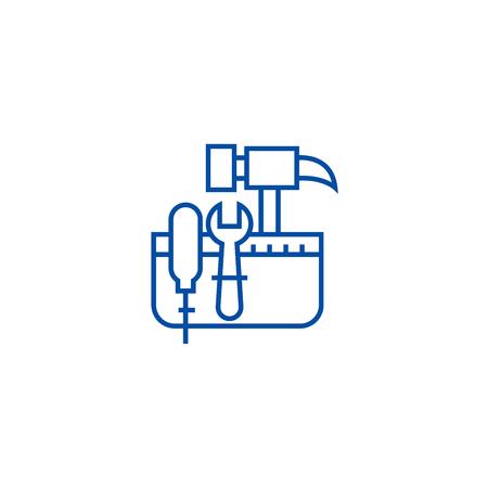 Tool belt,hammer screw line concept icon. Tool belt,hammer screw flat  vector website sign, outline symbol, illustration.