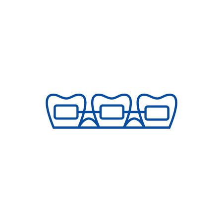 Tooth braces line concept icon. Tooth braces flat  vector website sign, outline symbol, illustration.