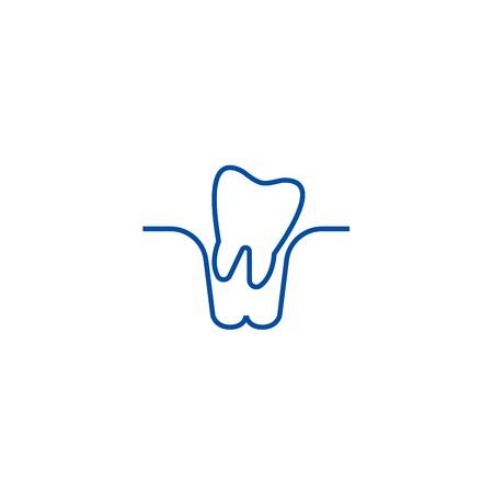 Icono de concepto de línea de extracción de dientes. Sitio web de vector plano de extracción de dientes de signo, símbolo de contorno, Ilustración.