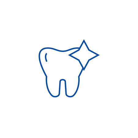 Tooth with shine,cleaned teeth line concept icon. Tooth with shine,cleaned teeth flat  vector website sign, outline symbol, illustration.