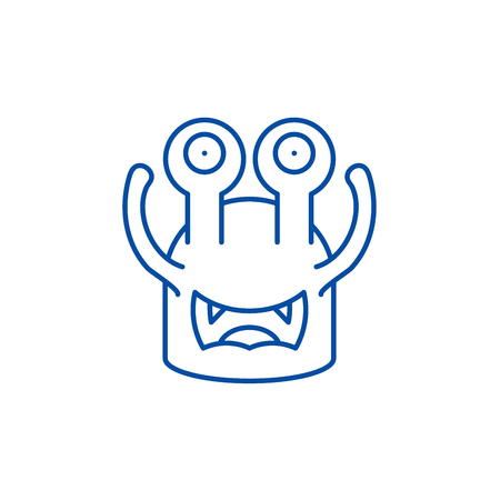 Toothy cast line concept icon. Toothy cast flat  vector website sign, outline symbol, illustration. Illustration
