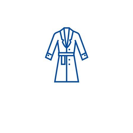 Topcoat, icône de concept de ligne de manteau d'hiver. Manteau d'hiver, manteau d'hiver, signe de site Web vectoriel plat, symbole du contour, illustration. Vecteurs