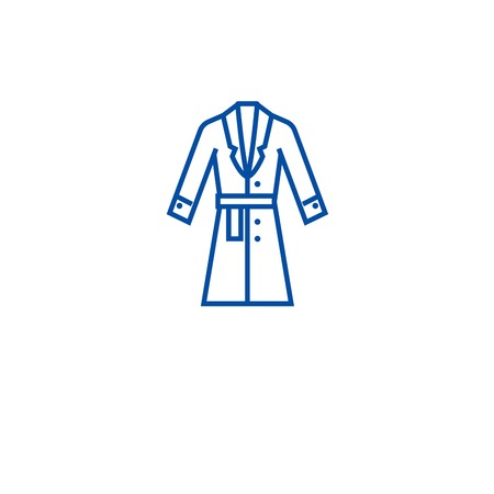 Topcoat, winter coat line concept icon. Topcoat, winter coat flat  vector website sign, outline symbol, illustration. Stock Illustratie