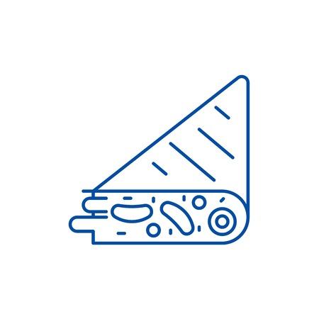 Tortilla line concept icon. Tortilla flat vector website sign, outline symbol, illustration.