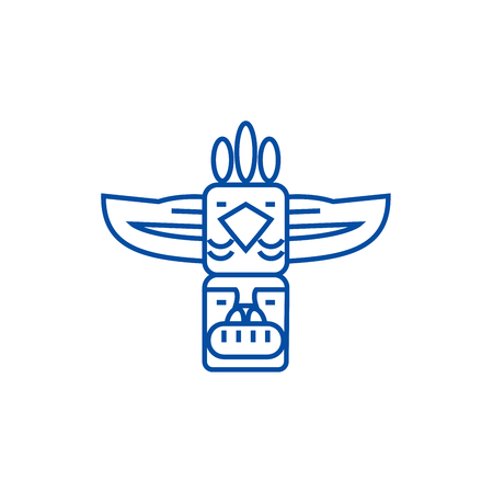 Totem,native american line concept icon. Totem,native american flat  vector website sign, outline symbol, illustration.  イラスト・ベクター素材