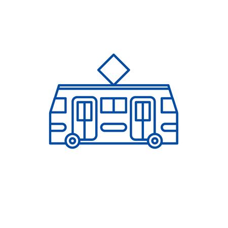 Tramway line concept icon. Tramway flat  vector website sign, outline symbol, illustration. Illustration