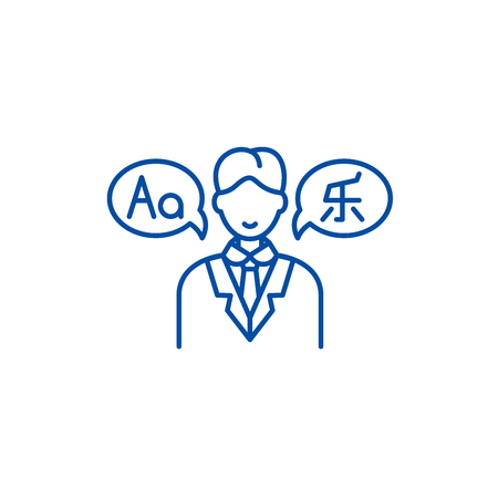 Translator line concept icon. Translator flat  vector website sign, outline symbol, illustration.  イラスト・ベクター素材