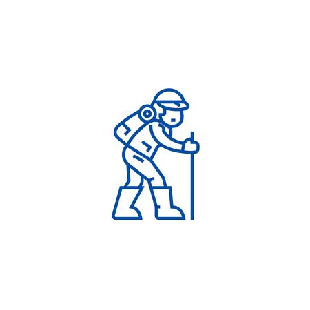 Traveler,hiking man line concept icon. Traveler,hiking man flat  vector website sign, outline symbol, illustration. Stock Vector - 119676727