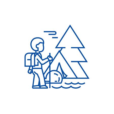 Traveller in forest,tourist hiking, tent line concept icon. Traveller in forest,tourist hiking, tent flat  vector website sign, outline symbol, illustration.
