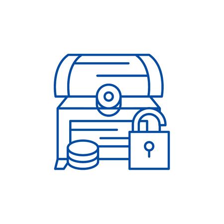Treasure chest line concept icon. Treasure chest flat  vector website sign, outline symbol, illustration. Foto de archivo - 119676730