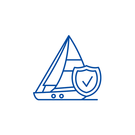 Travel insurance line concept icon. Travel insurance flat  vector website sign, outline symbol, illustration.