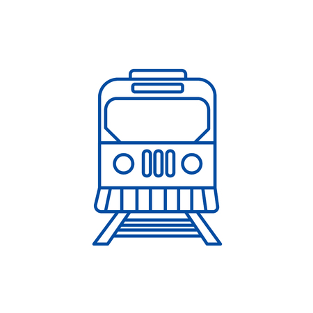 Train in city line concept icon. Train in city flat  vector website sign, outline symbol, illustration.