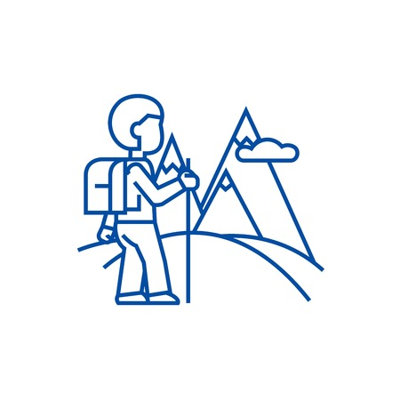 Traveller,hiking line concept icon. Traveller,hiking flat  vector website sign, outline symbol, illustration.