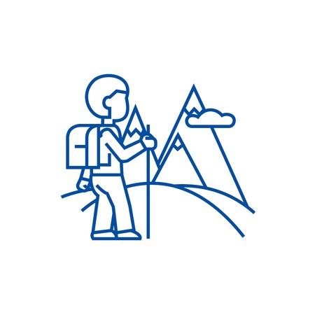 Traveller,hiking line concept icon. Traveller,hiking flat  vector website sign, outline symbol, illustration.