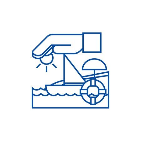 Travel insurance,boat,sun,sand,lifebuoy line concept icon. Travel insurance,boat,sun,sand,lifebuoy flat  vector website sign, outline symbol, illustration. Illustration