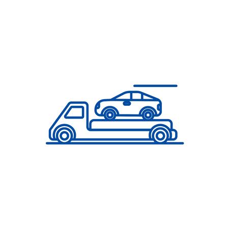 Trailer,transportation,car  line concept icon. Trailer,transportation,car  flat  vector website sign, outline symbol, illustration. Stock Vector - 119677119