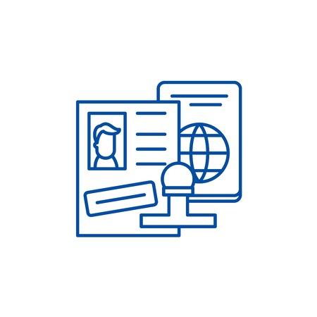 Tourist visa line concept icon. Tourist visa flat  vector website sign, outline symbol, illustration.