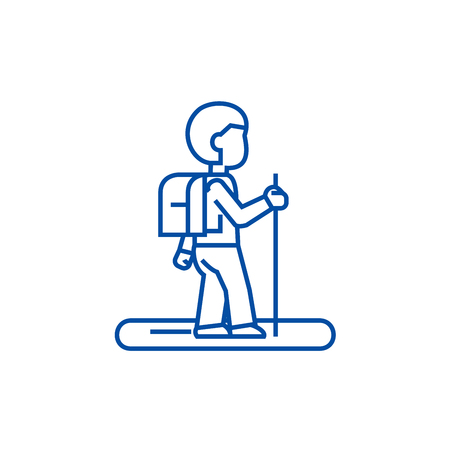 Tourister line concept icon. Tourister flat  vector website sign, outline symbol, illustration.