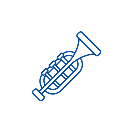 Trumpet,horn line concept icon. Trumpet,horn flat  vector website sign, outline symbol, illustration. Archivio Fotografico - 119712226