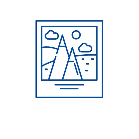 Travel photography line concept icon. Travel photography flat  vector website sign, outline symbol, illustration.