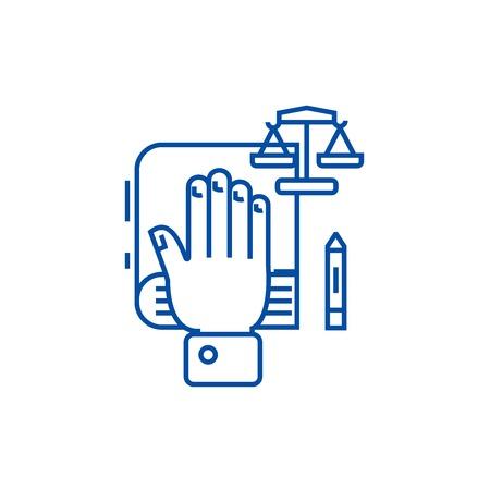 Concept de vérité, icône de concept de main sur la ligne. Concept de vérité, la main sur le signe du site Web vectoriel plat, symbole du contour, illustration. Vecteurs