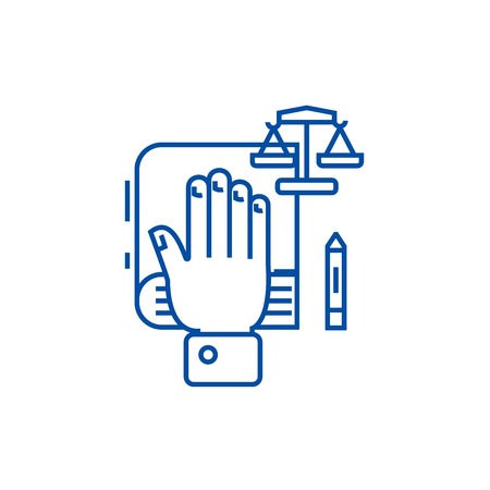 Truth concept,hand on  line concept icon. Truth concept,hand on  flat  vector website sign, outline symbol, illustration. 스톡 콘텐츠 - 119712228