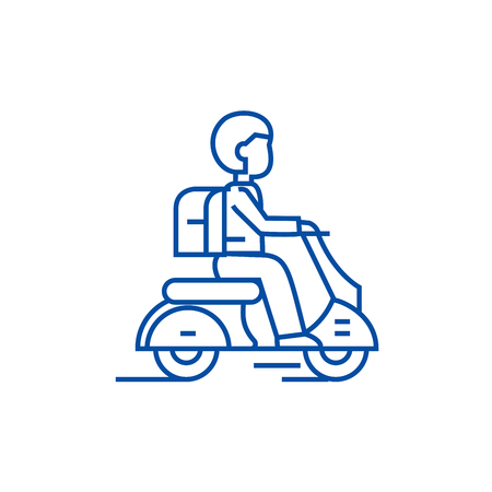 Travel scooter line concept icon. Travel scooter flat vector website sign, outline symbol, illustration.