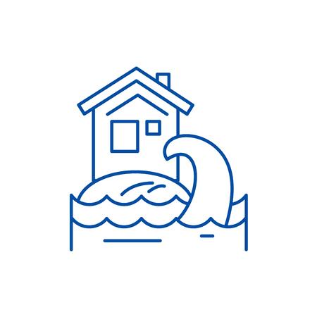 Tsunami line concept icon. Tsunami flat  vector website sign, outline symbol, illustration. Illustration