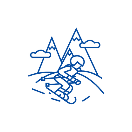 Travel winter,skier skiing in  line concept icon. Travel winter,skier skiing in  flat  vector website sign, outline symbol, illustration. Ilustrace