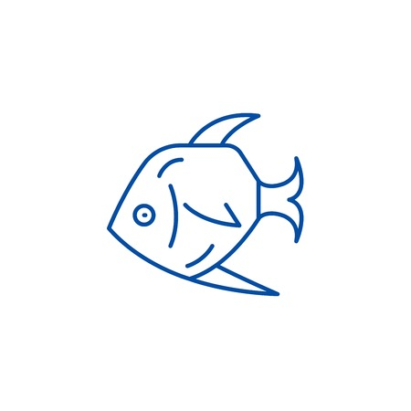 Tropical fish line concept icon. Tropical fish flat  vector website sign, outline symbol, illustration.