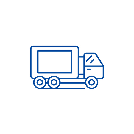 Truck line concept icon. Truck flat  vector website sign, outline symbol, illustration. Illustration