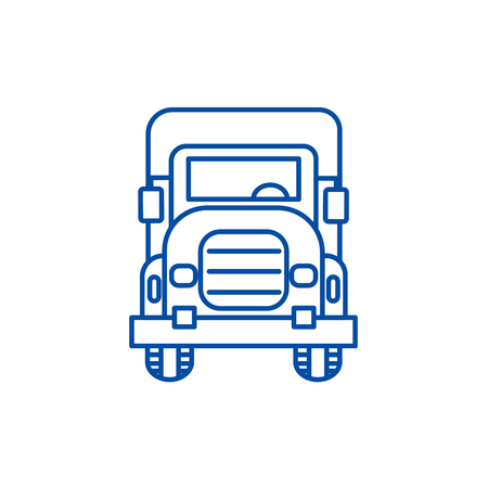 Truck front view line concept icon. Truck front view flat  vector website sign, outline symbol, illustration.