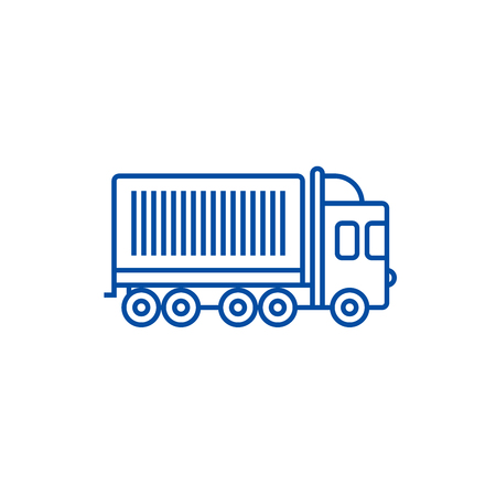 Truck, cargo container line concept icon. Truck, cargo container flat  vector website sign, outline symbol, illustration.