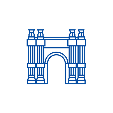 Triumphal arch line concept icon. Triumphal arch flat  vector website sign, outline symbol, illustration.