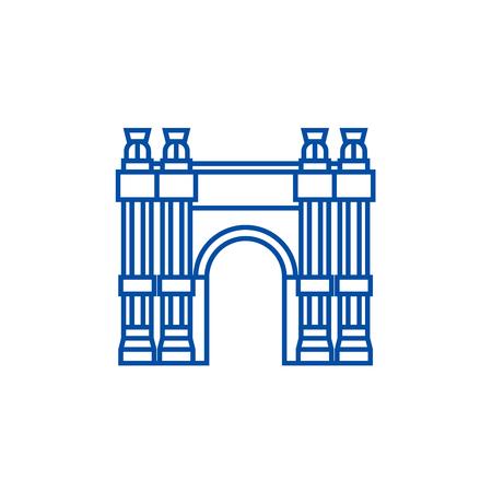 Triumphal arch line concept icon. Triumphal arch flat  vector website sign, outline symbol, illustration.