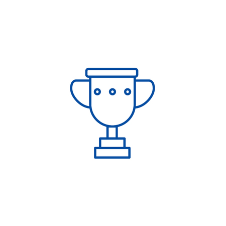 Trophy cup illustation line concept icon. Trophy cup illustation flat  vector website sign, outline symbol, illustration.