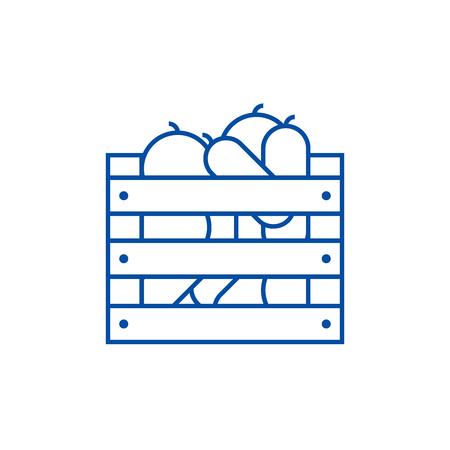 Vegetables in harvest box line concept icon. Vegetables in harvest box flat  vector website sign, outline symbol, illustration. Banque d'images - 119712289