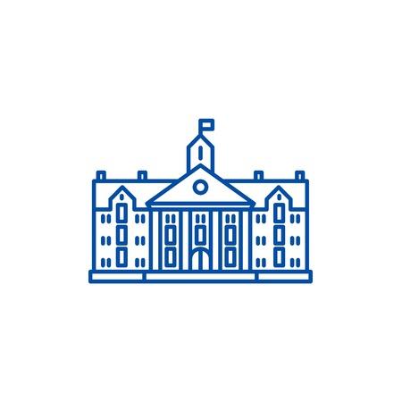 Icône de concept de ligne universitaire. Signe de site Web de vecteur plat de l'université, symbole du contour, illustration.
