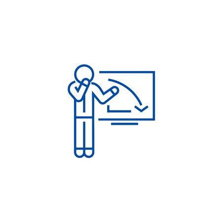 Upset businessman, graph down line concept icon. Upset businessman, graph down flat  vector website sign, outline symbol, illustration.
