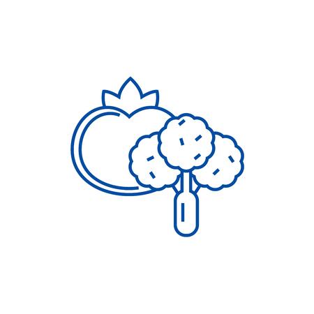 Vegetables line concept icon. Vegetables flat  vector website sign, outline symbol, illustration. Illustration